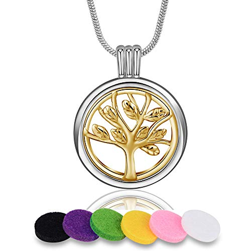 Pendant Link Silver - INFUSEU Tree of Life Pendant Necklace for Aromatherapy Essential Oils Diffuser Locket Jewelry Set