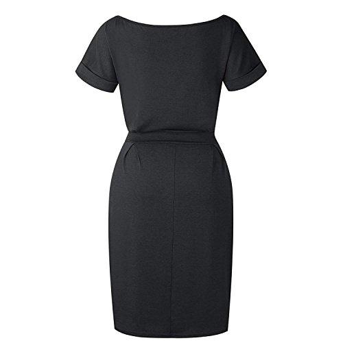 Pencil Elegant Casual Short Dress with Women's Black Belt Sleeve wBI4q1Inxa