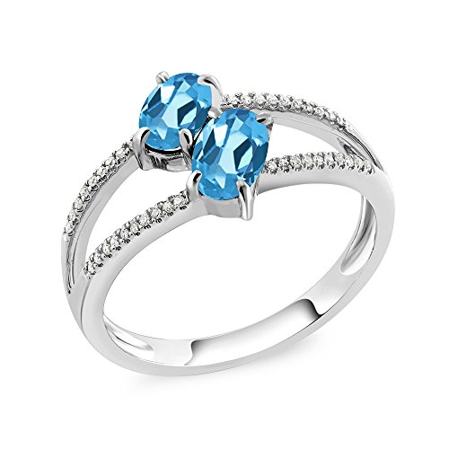 10K White Gold 1.28 Ct Oval Swiss Blue Topaz Two Stone - Stones Oval Two
