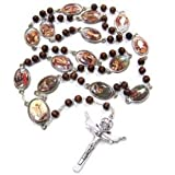 Stations of the Cross Rosary Chaplet 棕色木,L 号 24 英寸念珠