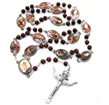 "Stations of the Cross Rosary Chaplet Brown Wood Made in Italy Featuring Cromo Nb Original Designs Beautfiul Large 24"" Rosary."