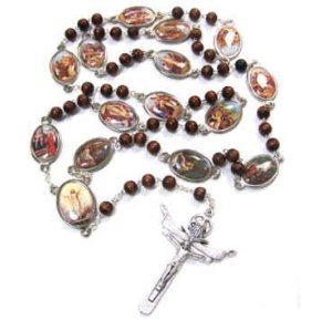 Stations of the Cross Rosary Chaplet Brown Wood,Large 24-Inches Rosary