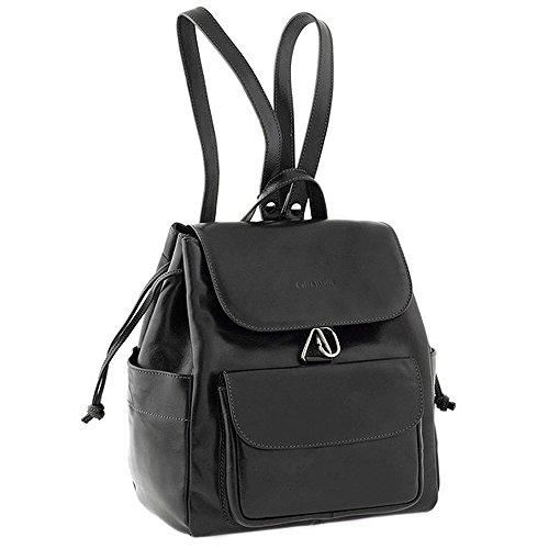 Chiarugi mochila de cuero italiano (negro) Negro
