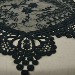 1 X Black Lace Table Runner, Vintage Wedding Decor, 12 X 74 Inches