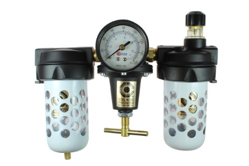 Coilhose Pneumatics 8883AAGR Heavy Duty Series Filter, Regulator, and Lubricator Trio Assembly with Bowl Guard, 3/8-Inch Pipe Size by Coilhose Pneumatics