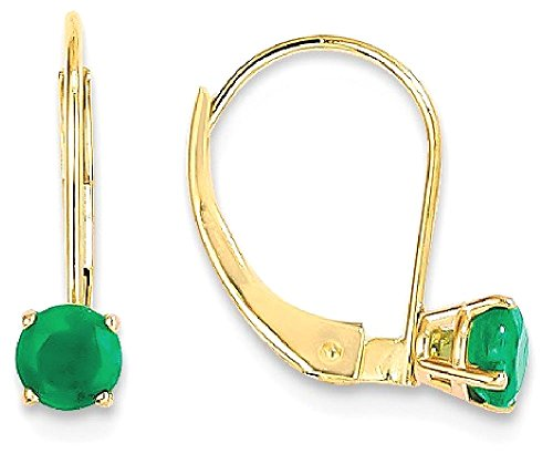 ICE CARATS 14k Yellow Gold 4mm Round May/emerald Leverback Earrings Lever Back Drop Dangle Birthstone May Fine Jewelry Gift Set For Women Heart