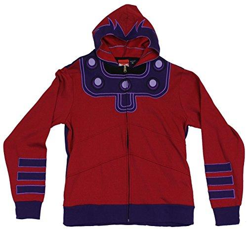 [Marvel Comics Magneto Mens Zip Up Hoodie Sweatshirt - X-Men Villian Costume (Large) Red] (Villian Costumes)