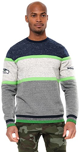 ICER Brands Adult Men Fleece Sweatshirt Long Sleeve Shirt Block Stripe, Team Color, Navy, X-Large