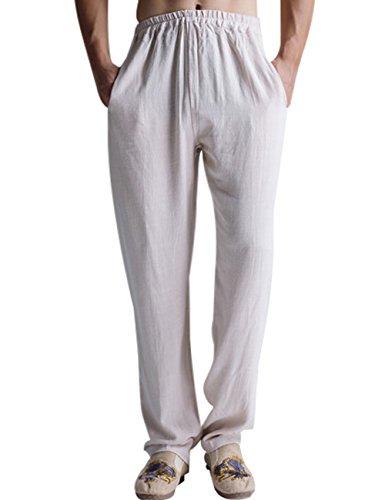 Youlee Hombres Verano Primavera Cintura Elástica Lino Pantalón Blanco