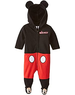 Baby Boys Mickey Mouse Coverall with Ears and 3D Embroidery, Black