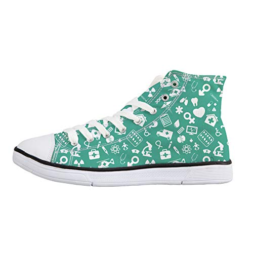 1 Up Canvas Footwear Shoe Vulcanized Nurse Lightweight Lace Top High Coloranimal Womens Shoes q76ZFqH1