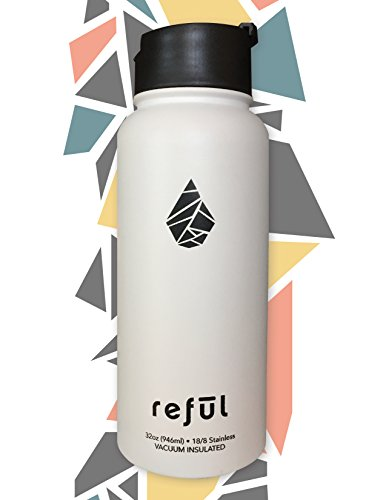 Stainless Steel Water Bottle by Reful, Double Wall Vacuum Insulated Hot and Cold, Hygienic and Eco-Friendly, Wide Mouth - BPA Free, Free Flip-Top Lid Included