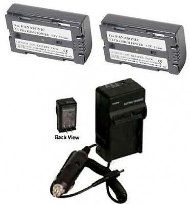 2 Batteries + Charger for Panasonic PV-DV201, Panasonic PV-DV201D, Panasonic PV-DV202, Panasonic PV-DV203, Panasonic PV-DV400