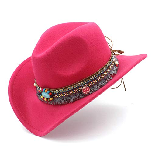 HiiWorld Child Wool Hollow Western Cowboy Hat with Fashion Tassel Belt for Kids Girl Jazz Cowgirl Sombrero Cap Rose Red
