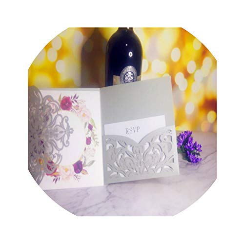 50 P Ivory Tri Fold Cutout Openwork Flower Wedding Invitation Card Set Postcard High end Business Dealings Print,7,Single card