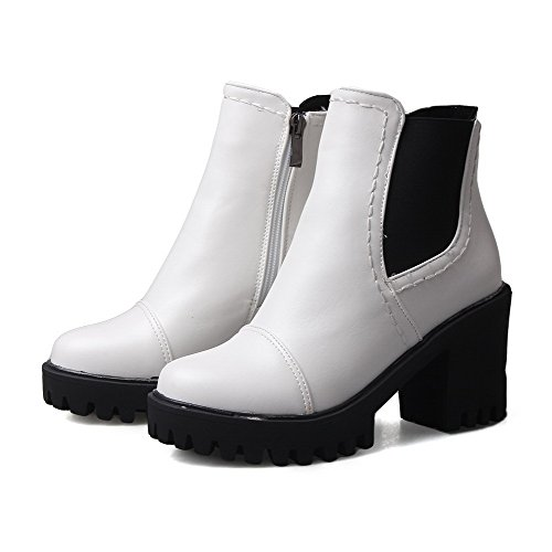 high Closed White Round Material High Zipper Soft Boots Women's Toe Ankle Heels Allhqfashion wxzq1OCw