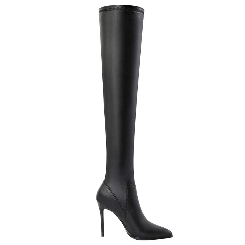 Black Womens Boots Stretch Round Toe shoes High Boot Over The Knee High Heel Boots,BlackEU 38=7.5B(M) US
