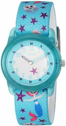 Timex Girls TW7C13700 Time Machines Analog Teal Sea Elastic Fabric Strap Watch