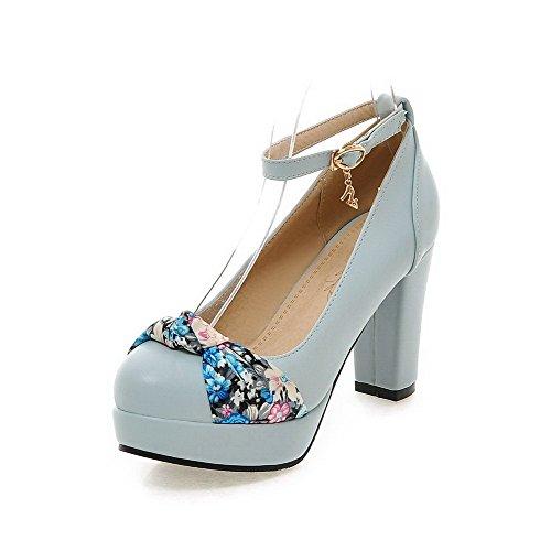 AllhqFashion Damen Blend-Materialien Rund Zehe Hoher Absatz Blend-Materialien Damen Rein Schnalle Pumps Schuhe Blau 1e84eb