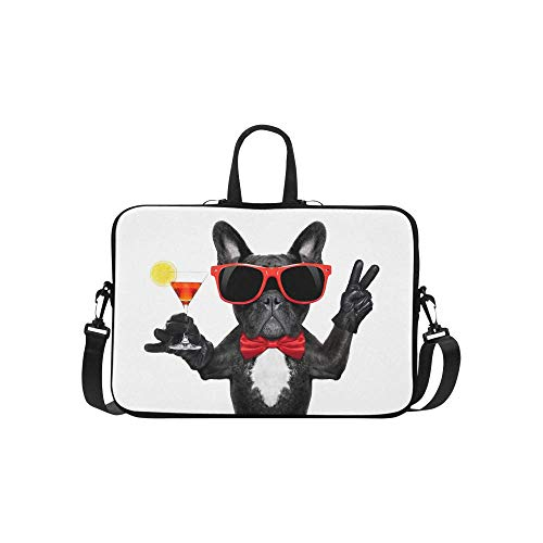 - InterestPrint Funny French Bulldog Dog Holding Martini Cocktail Waterproof Neoprene Laptop Sleeve CaseNotebook Shoulder Bag 15 15.6 Inch with Handle & Strap for Women Men