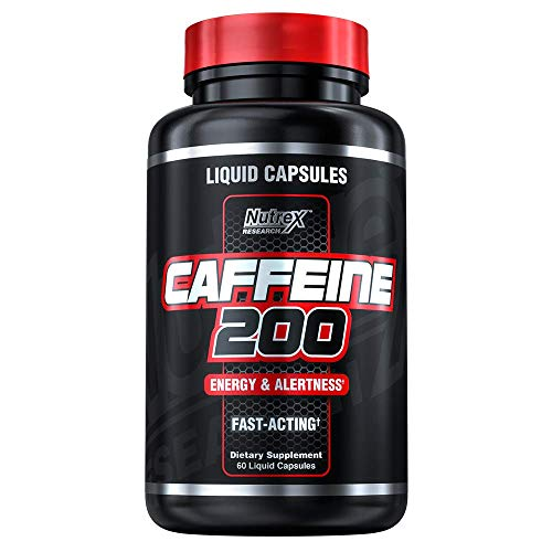 Nutrex Research Caffeine Pills 200 mg   Smooth Energy & Focus - Focused Energy for Your Mind & Body - No Crash - No Jitters   Liquid Capsules, 60Count
