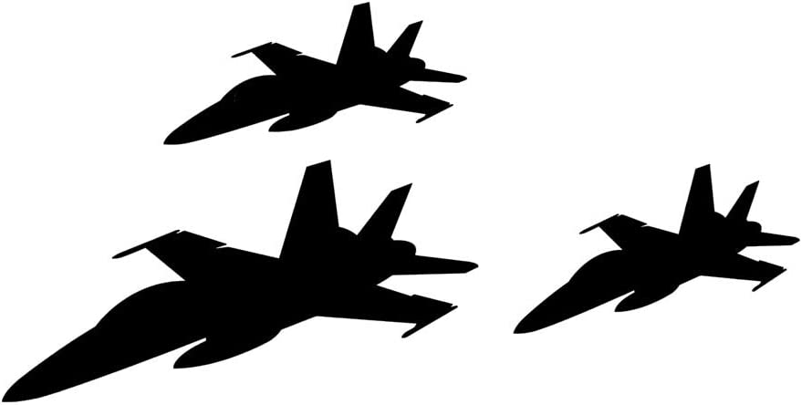 Dnven 3 Fighter Jets Silhouette Giant F18 Formation Planes Children Learning Moon Wall Decals Stickers Baby Decors Vinlyl Removable Nursery Wall Decals Stickers For Bedroom Kids Room Decor Arts Crafts