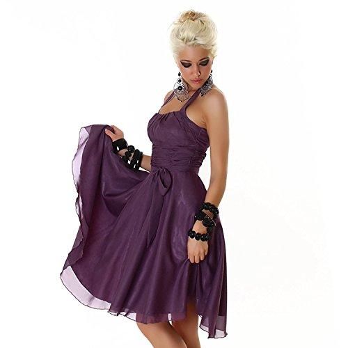 Larella Kleid Damen Chiffon Volantkleid Summer Sommer Party Abendkleid Sommerkleid Schwarz Größe 32 - 34 Lila