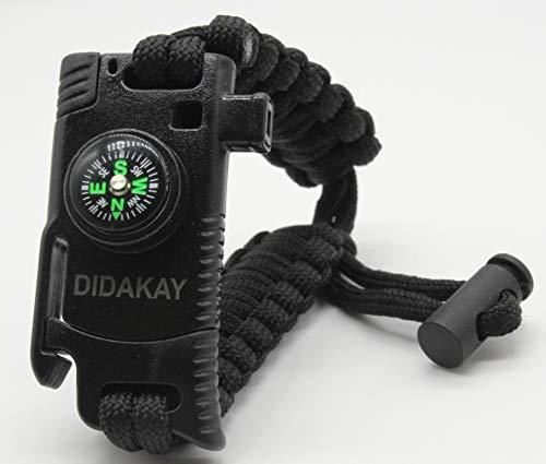 Didakay New Adjustable Size Paracord Knife Survival Bracelet Fire - Starter, Whistle, Compass (Black)