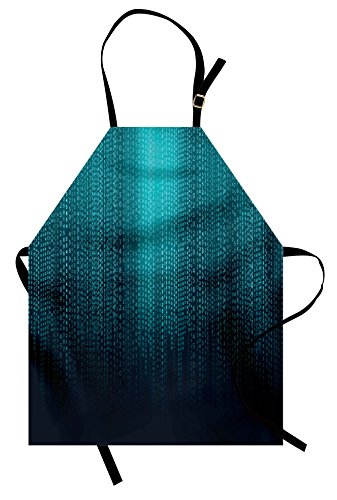 Digital Apron by Lunarable, Web Computer Programmer Futuristic Matrix Display with Algorithms Code Image, Unisex Kitchen Bib Apron with Adjustable Neck for Cooking Baking Gardening, Petrol Blue (Matrix Theme Costume)