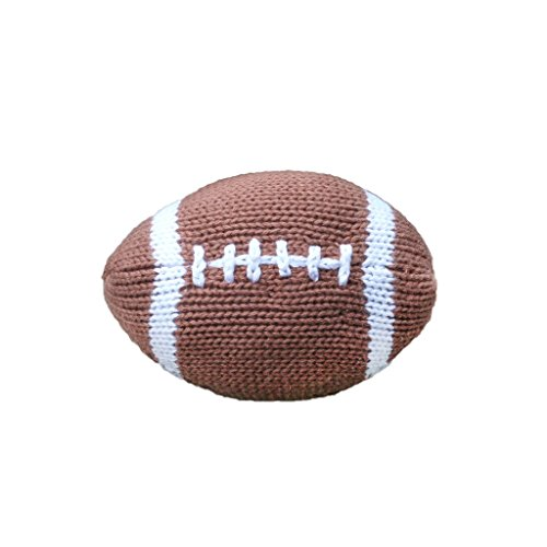 Zubels Baby Hand-Knit Phil The Football Plush Toy Rattle, All-Natural Fibers, Eco-Friendly, 100% Cotton