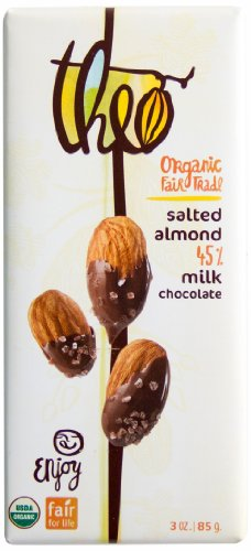 Theo Classics Milk Chocolate with Salted Almonds, 3 Ounce (Pack of 12)