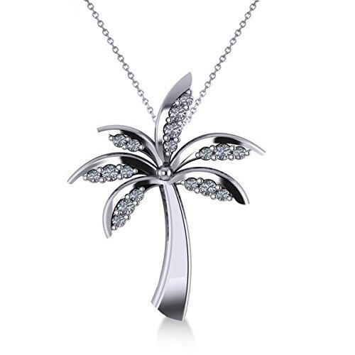 Allurez Diamond Tropical Summer Palm Tree Pendant Necklace in 14k White Gold (0.24ct) by Allurez