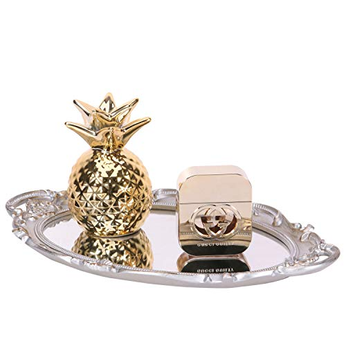 Yujiko Mirrored Tray,Decorative Mirror Tray Vantity Tray Antique Tray for Perfume Cosmetics Makeup Storage Organizer and Display,Dresser Jewelry Organizer,Serving Tray,9.8inch x 14inch (Golden - Tray 9.8 Inch