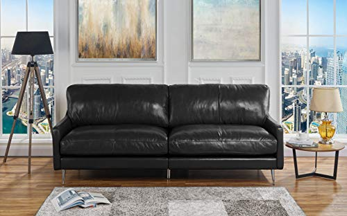 Casa Andrea Milano Mid Century Modern Plush Leather Living Room Sofa (Black)