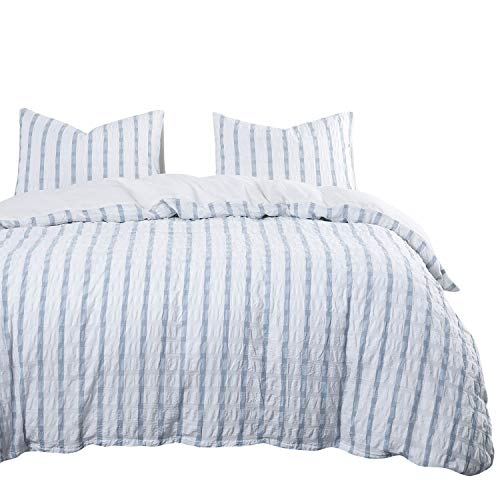 (Wake In Cloud - Seersucker Duvet Cover Set, 100% Washed Cotton Bedding, Grid Plaid with Blue Vertical Stripes and White Horizontal Striped (3pcs, Queen Size))