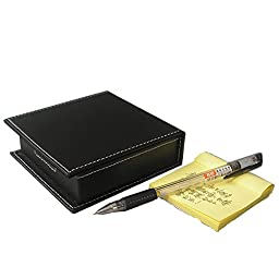KINGFOM™ Pu Leather Desktop Stationery Organizer Name Cards Sticky Notes Dispenser Case with a Lid Cover 3.9 x 3.9 Inches(black)