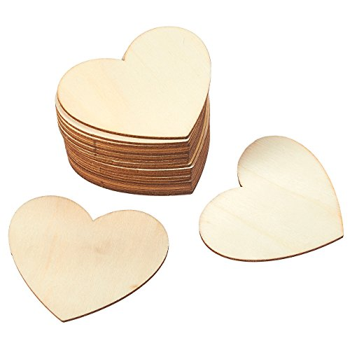 Unfinished Wood Cutout - 24-Pack Heart-Shaped Wood Pieces for Wooden Craft DIY Projects, Gift Tags, Wedding Decoration, 3.7 x 3.1 x 0.1 inches (Heart Shaped Cut-out)