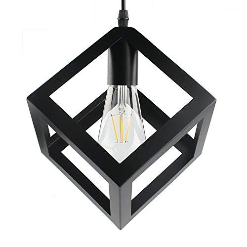 B2ocled Pendant Light Geometric Hanging Lamp E26/E27 Black Pendant Lighting Iron(Square)