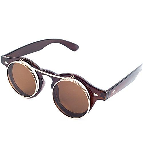 Steampunk Goth Goggles Glasses Retro Flip Up Round Sunglasses Brown - 2