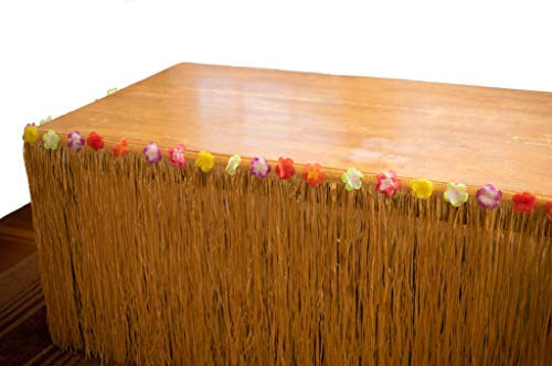 REALISTIC RAFFIA GRASS TABLE SKIRT DECORATION FOR HAWAIIAN THEMED CELEBRATIONS AND LUAU PARTIES | RECTANGULAR | 9' LONG 29