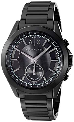 Armani Exchange Men's Hybrid Smartwatch, Black-Tone Stainless Steel, 44 mm, AXT1007 (Best Android Smartwatch For The Money)