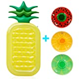 FunsLane Inflatable Pool Float, Outdoor Swimming Pool Raft Giant Pool Lounge Summer Party Beach Holiday Toys for Adults and Kids, with 3 Pack Random Inflatable Drink Holders (Pineapple)