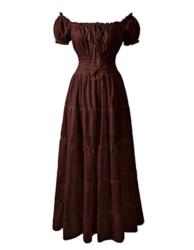 ReminisceBoutique Renaissance Dress Costume Pirate Peasant Wench Medieval Boho Chemise (XL, Brown) -