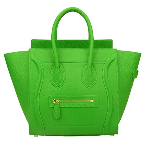 Hand Bright Green (Ainifeel Women's Genuine Leather Smile Top Handle Handbag Purse (Medium, Bright bamboo green))