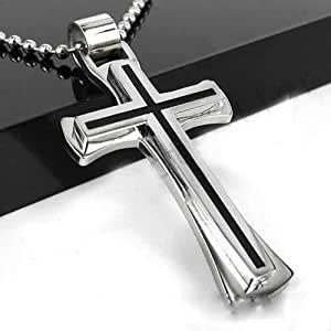 Two Tone Stainless Steel Cross Pendant Necklace 003