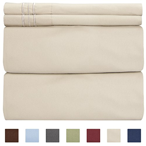 King Size Sheet Set - 4 Piece - Hotel Luxury Bed Sheets - Extra Soft - Deep Pockets - Easy Fit - Breathable & Cooling Sheets - Wrinkle Free - Comfy – Beige Tan Bed Sheets - Kings Sheets – 4 PC (Sheet Target Set)