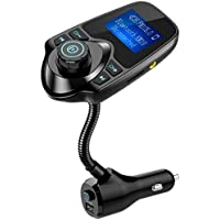 Nulaxy 2017 Wireless In-Car Bluetooth FM Transmitter Radio Adapter Car Kit with 1.44 Inch Display and Power On/Off Button USB Car Charger, KM18 Plus-Black