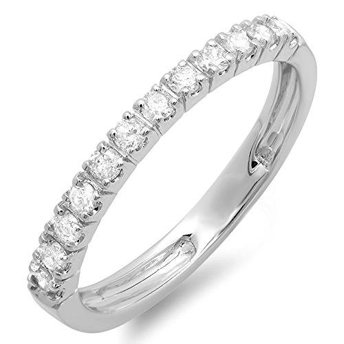 0.40 Carat (ctw) 14K Gold Round Diamond Anniversary Wedding Ring Stackable Band
