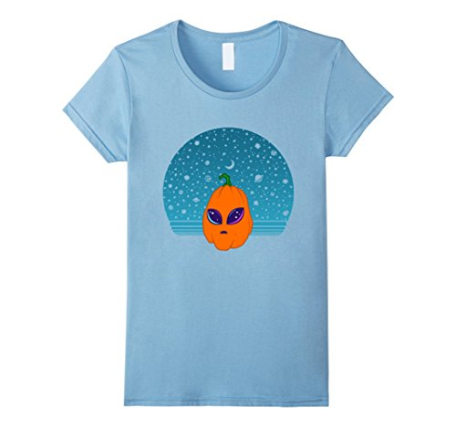 Dad And Baby Alien Costume (Womens PUMPKIN HALLOWEEN ALIEN HEAD T SHIRT FUNNY GIFTS Large Baby Blue)
