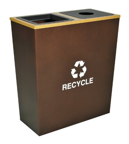 Ex-Cell Kaiser RC-MTR-2 HCPR Metro Collection Steel Two Stream Tapered Indoor Recycling Receptacle, 18 Gallon Liner Capacity, 28'' Length x 14'' Width x 31'' Height, Hammered Copper by Ex-Cell Kaiser